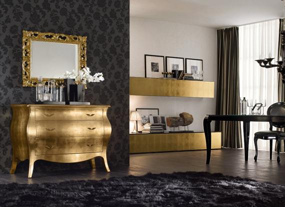 Credenza in foglia oro con soggiorno in foglia oro - Mobili le monde ...