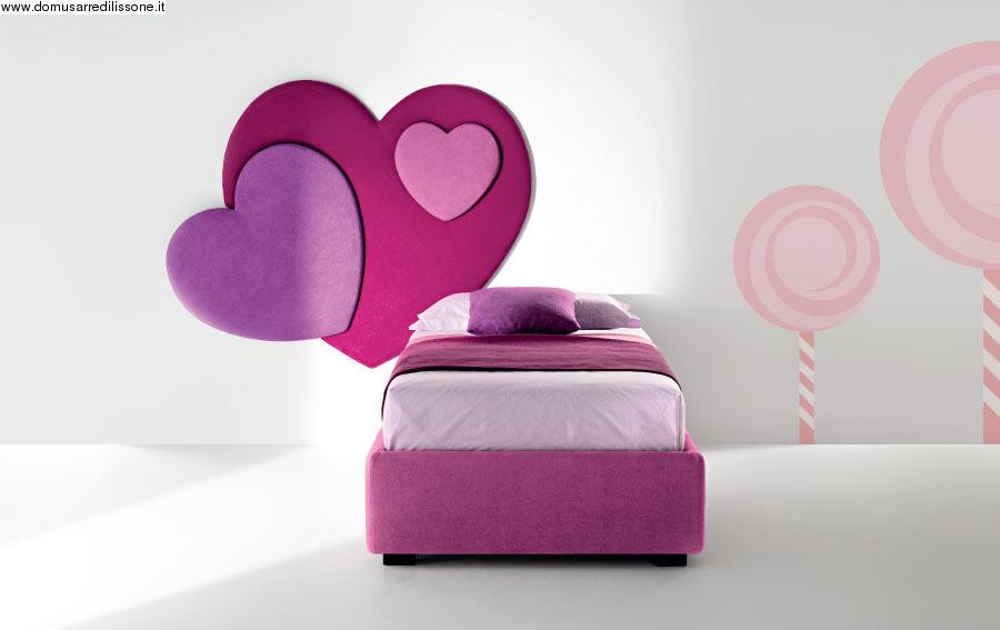 11432-Cameretta rosa per Bambina con letto a cuore e Swarovski