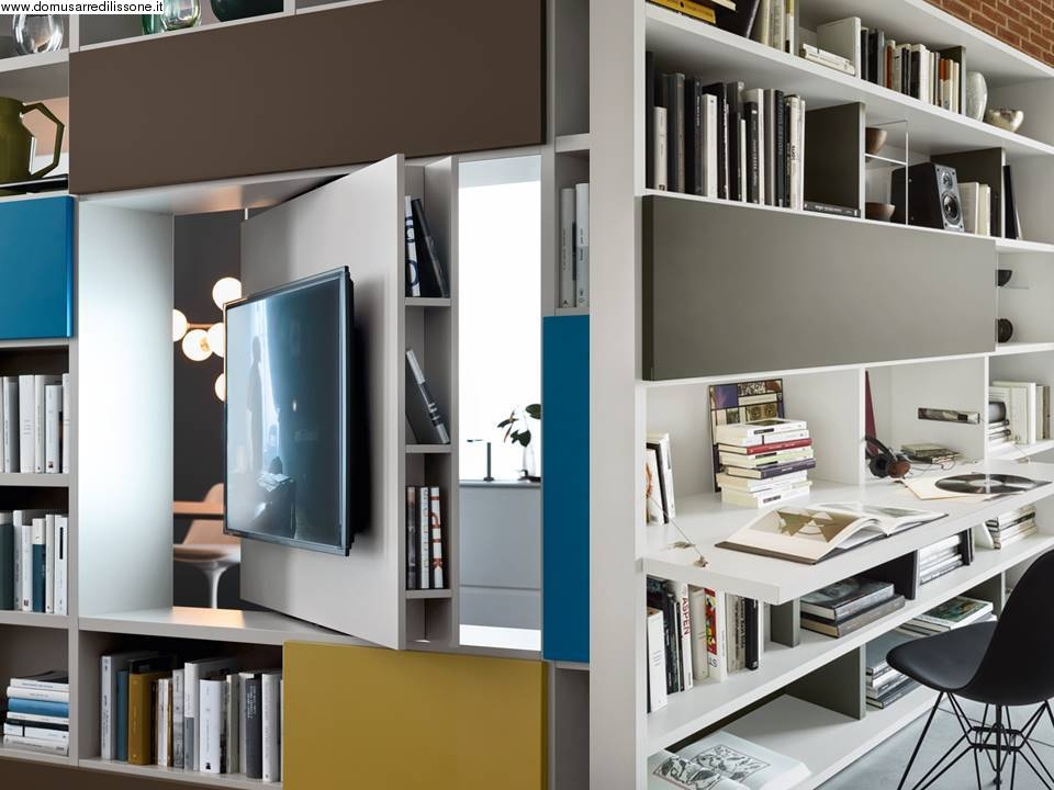 10312-Porta Tv girevole e scrivania ribaltabile