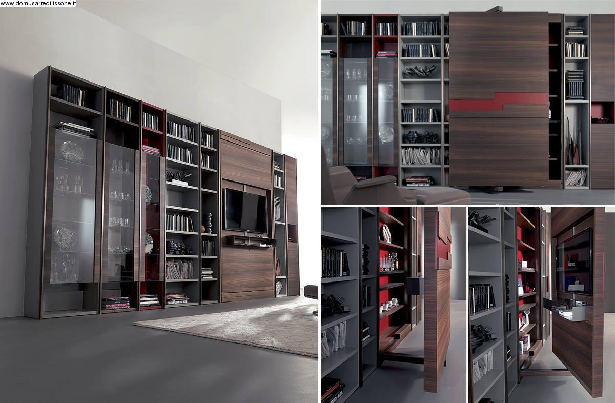 Per un soggiorno e una libreria con vano tv girevole a 180 gradi ...