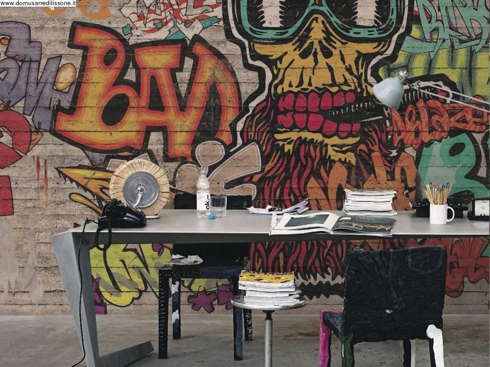 Carta da parati soggetto graffiti per area bambini for Tappezzeria bambini