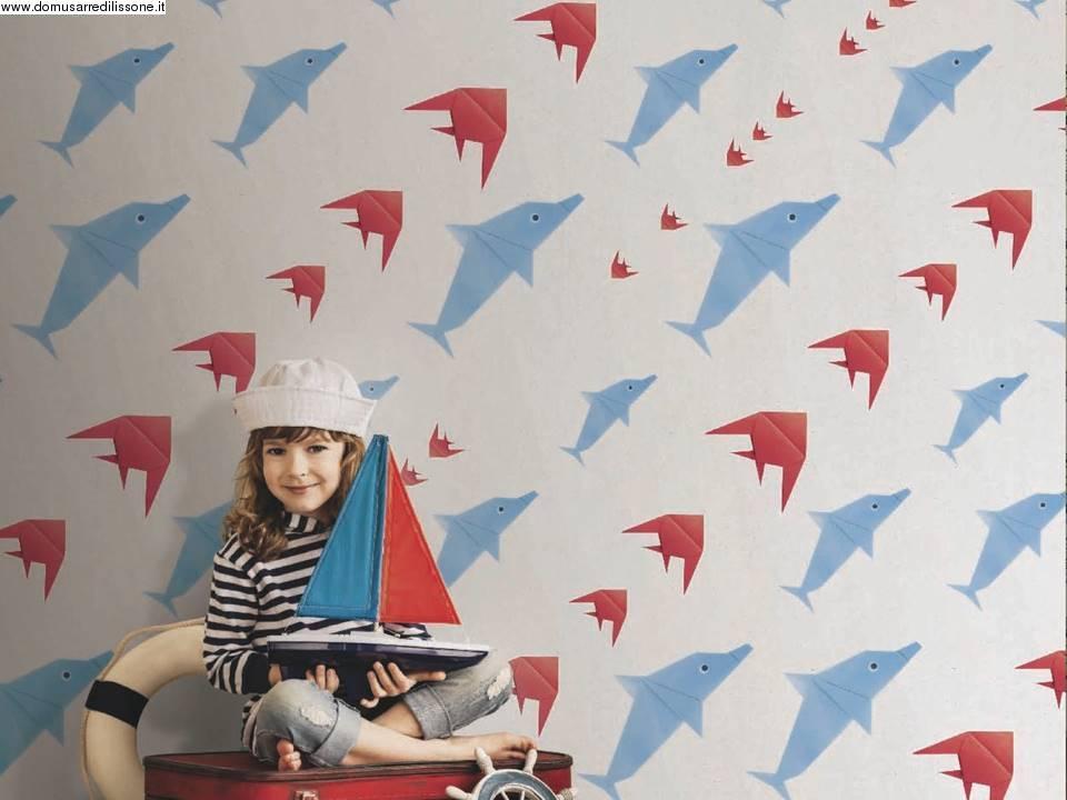 Carta da parati per area bambini soggetto pesci for Carte da parati per camerette bambini