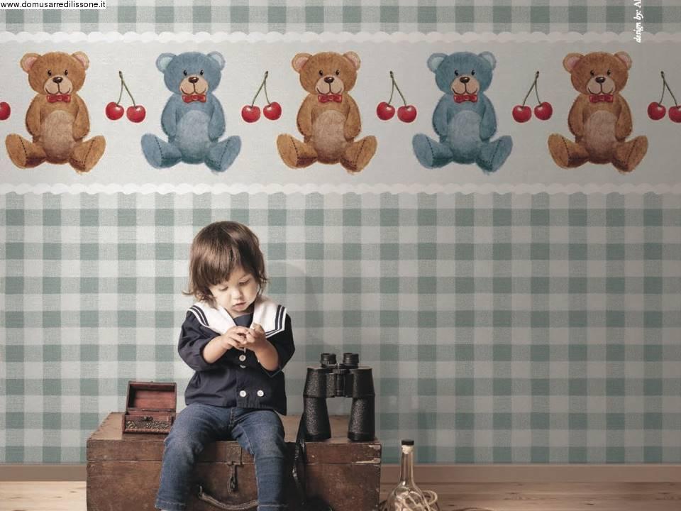 Carta da parati per area bambini soggetto orsetti for Carta da parati bambini