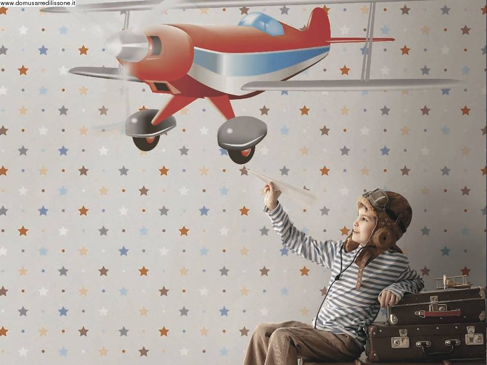 Carta Da Parati Per Armadi Bambini : Tappezzeria spiritosa per cameretta soggetto aeroplano