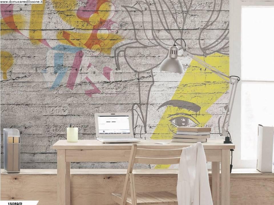Carta Da Parati Per Camere Ragazzi : Wallpaper per camera ragazzi effetto cemento
