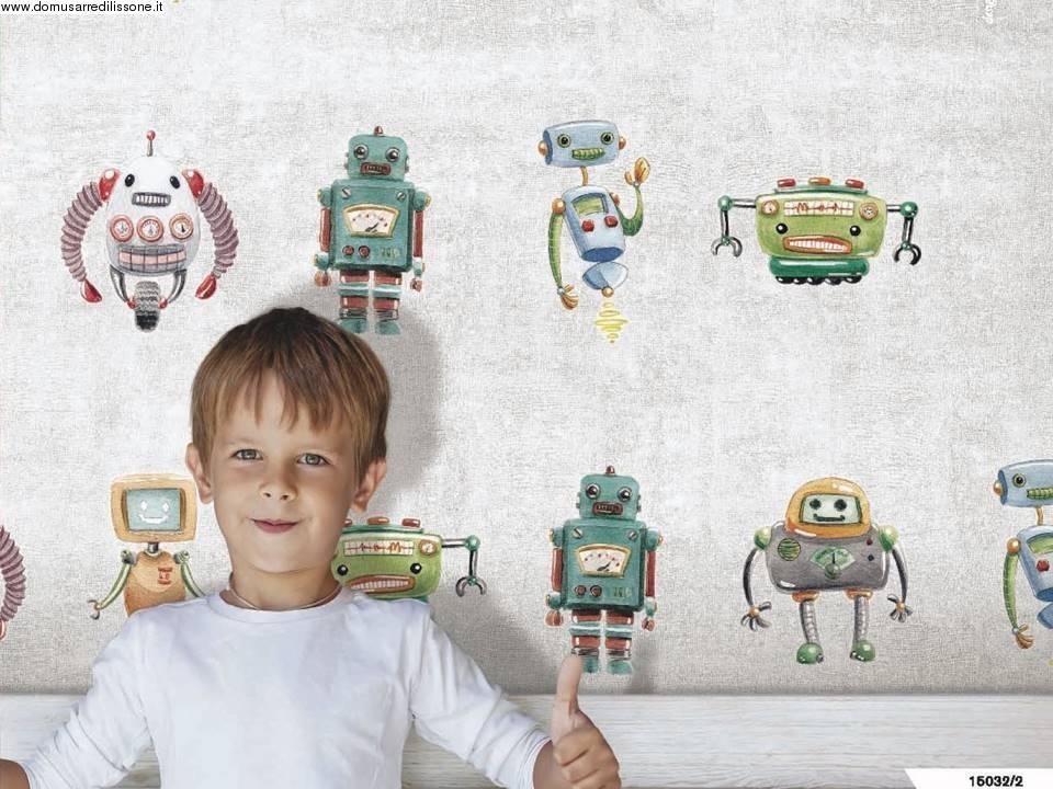 Carta Da Parati Bambini Robot: Carta Da Parati Colorata Cameretta Con Robot