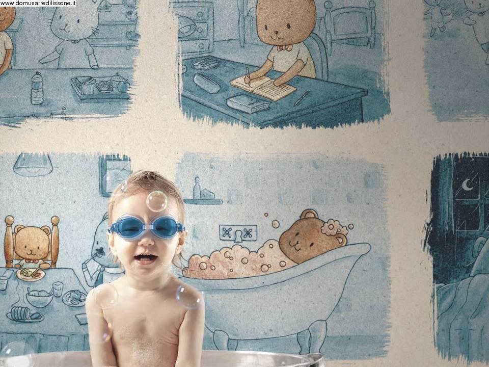 Carta da parati colorata cameretta for Tappezzeria bambini