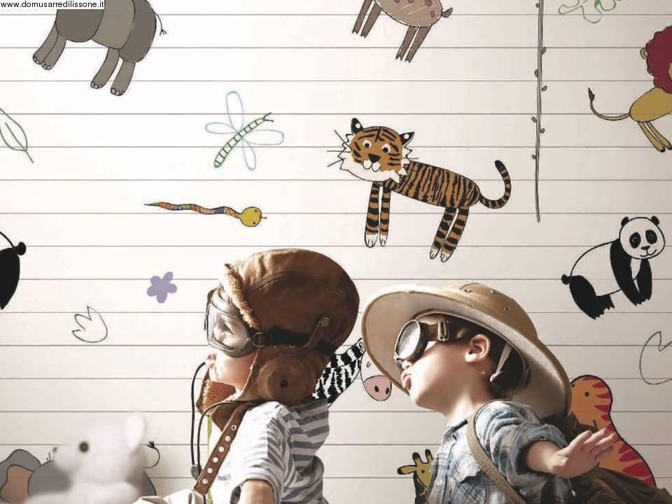 Carta da parati colorata cameretta soggetto animali for Carta da parati colorata